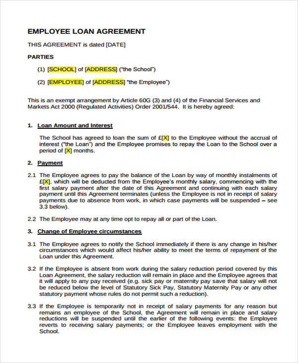 Loan Agreement Form Template – Short Term Loan Agreement Form