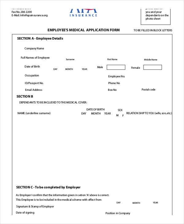 employee medical application form