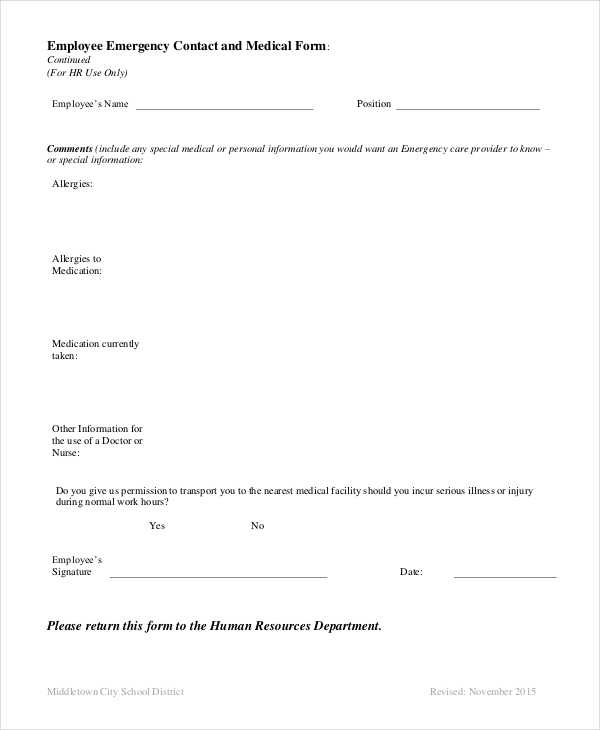 Pretty Employee Emergency Contact Template Photos  Example Resume