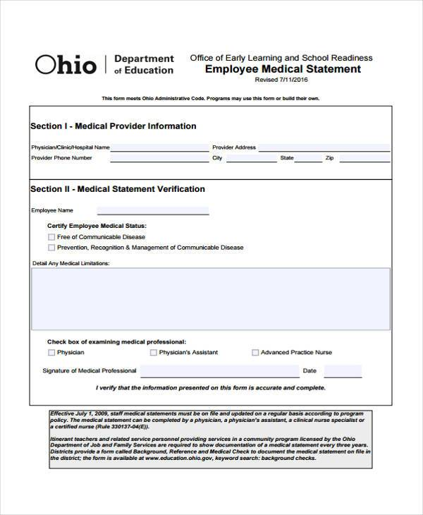 Employee Medical Statement Form  Free Medical Form Templates