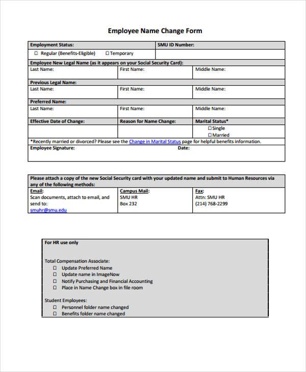 employee name change form