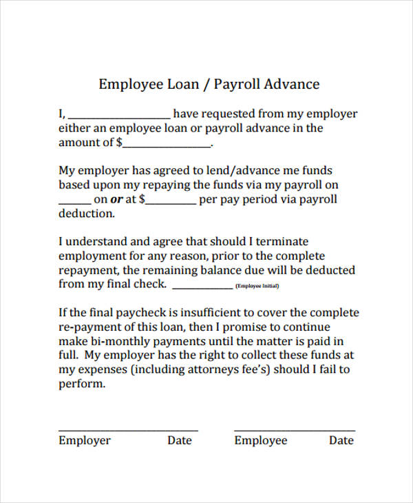 employee payroll advance loan