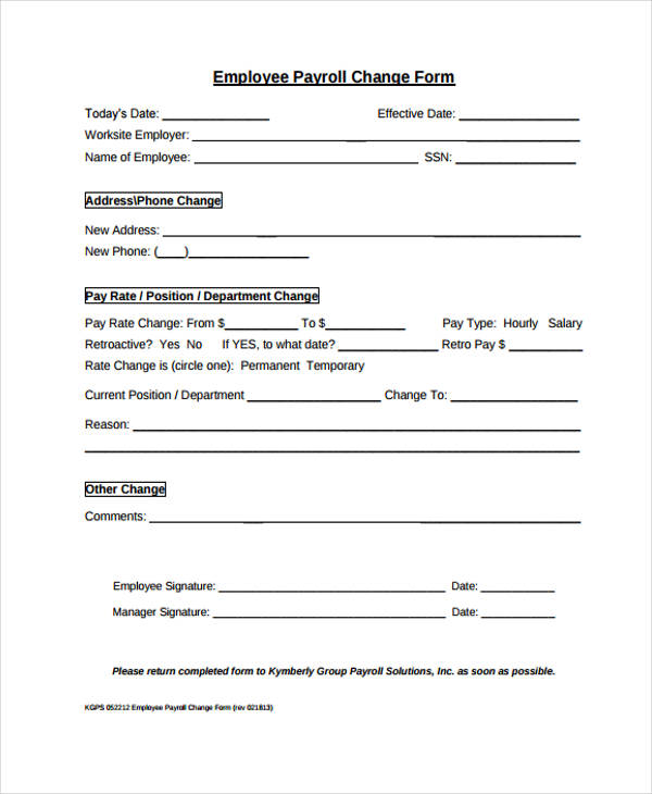 Employee Payroll Change Form  Address Change Form Template