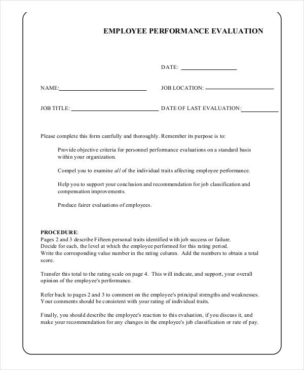 Performance Evaluation Example 16 Job Performance Evaluation – Performance Evaluation Forms