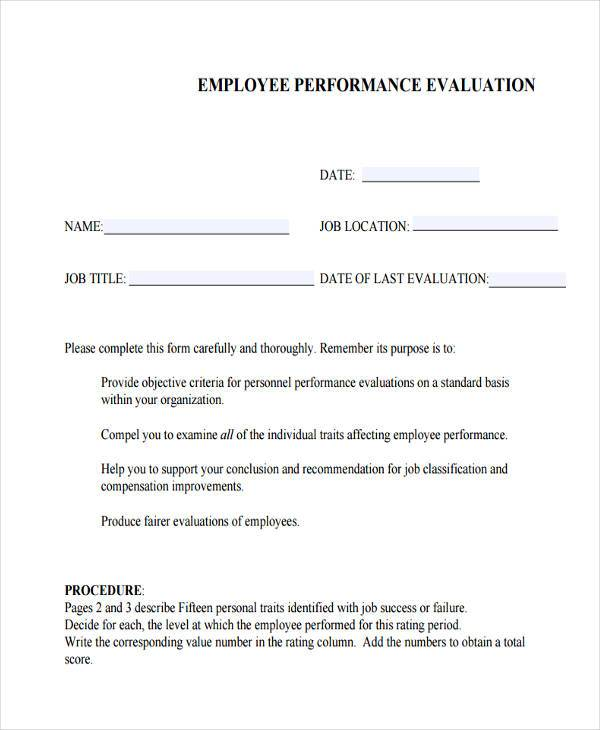 Free Employee Performance Evaluation Template