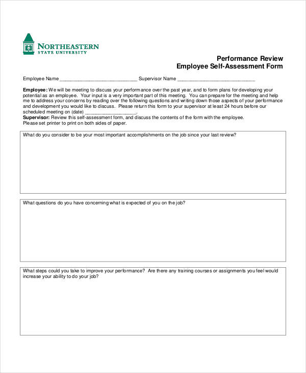 employee performance self assessment form