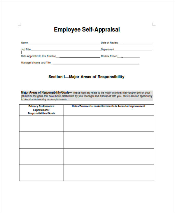 Self Assessment Form Template