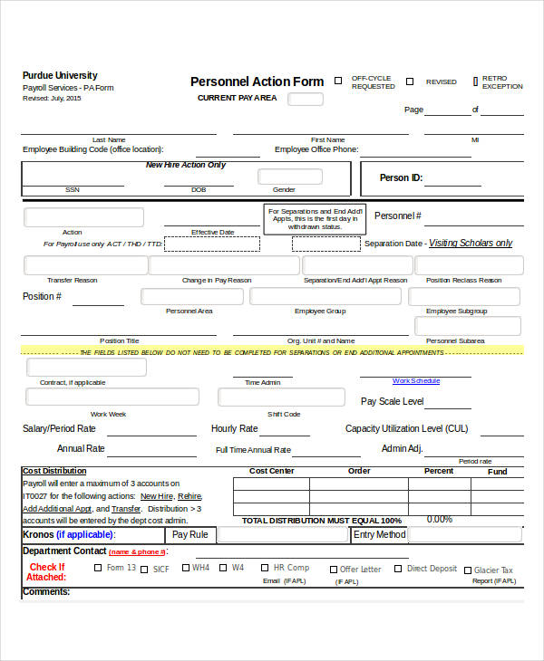 employee personnel action form