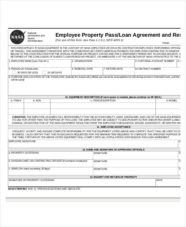 employee property loan agreement