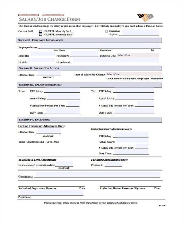employee salary change form
