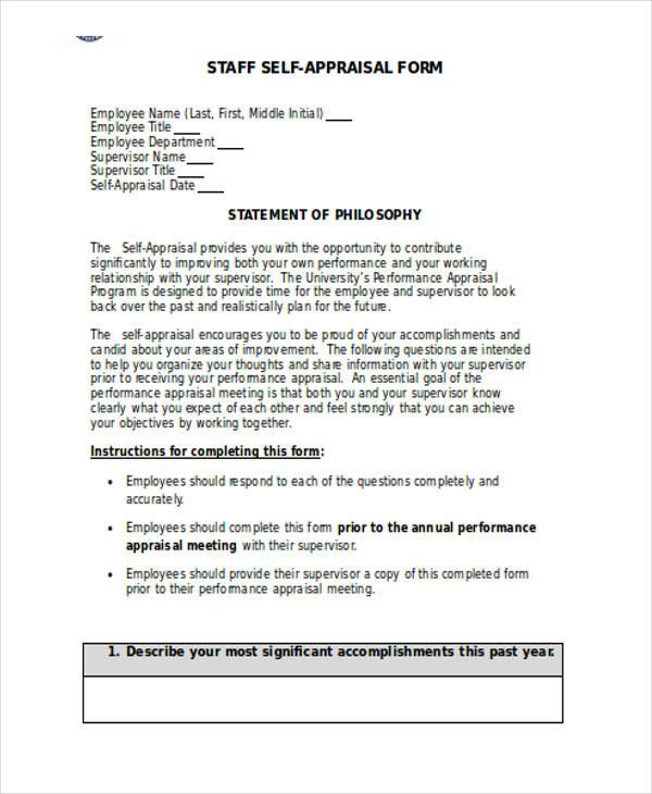 employee self appraisal form