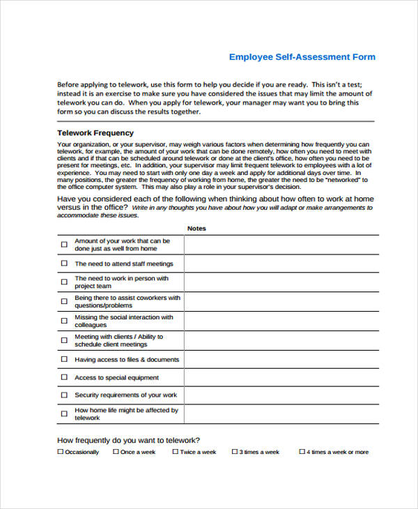 Employee Self Assessment Form  Assessment Forms Templates