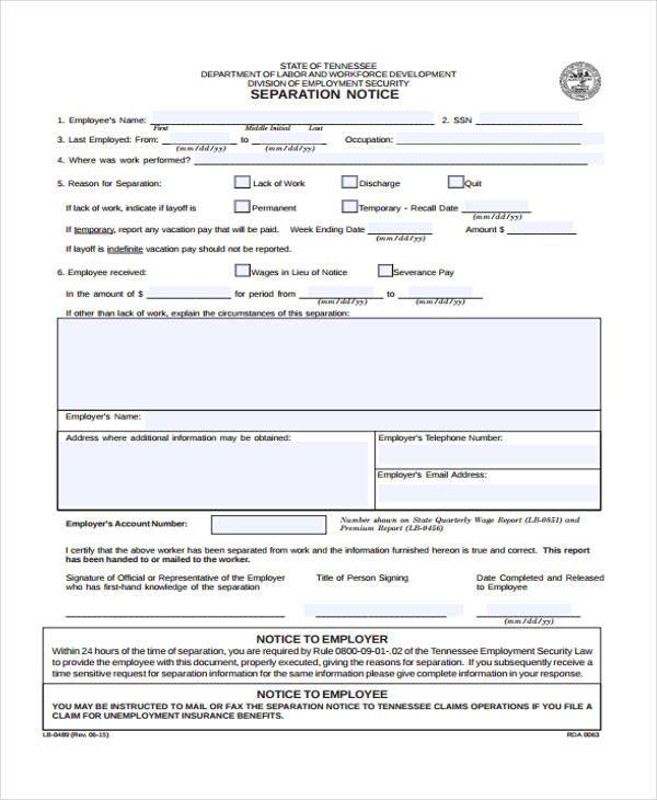 employee separation notice form