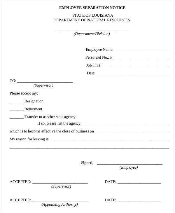 employment separation certificate template - employee separation letter