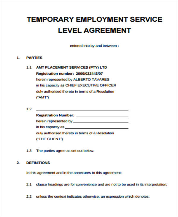 Service agreement form for Temporary employment contract template free