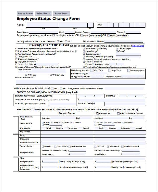employee status change form