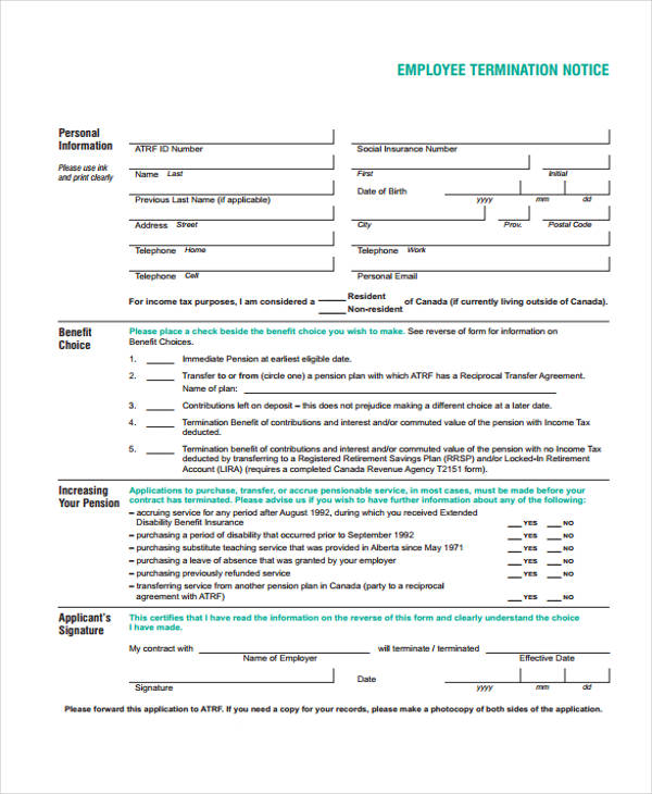 employee termination notice form