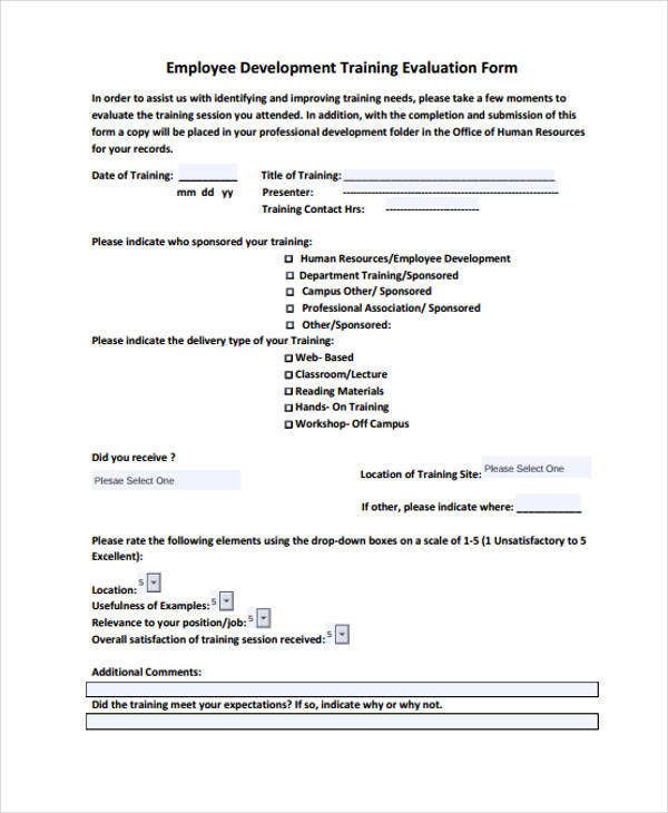 Employee Training Evaluation  Template