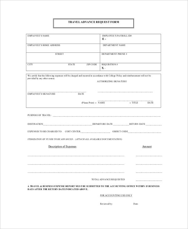 travel advance request form tvsputniktk - Supply Request Form