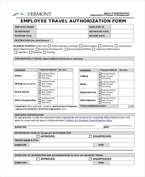 employee travel authorization form