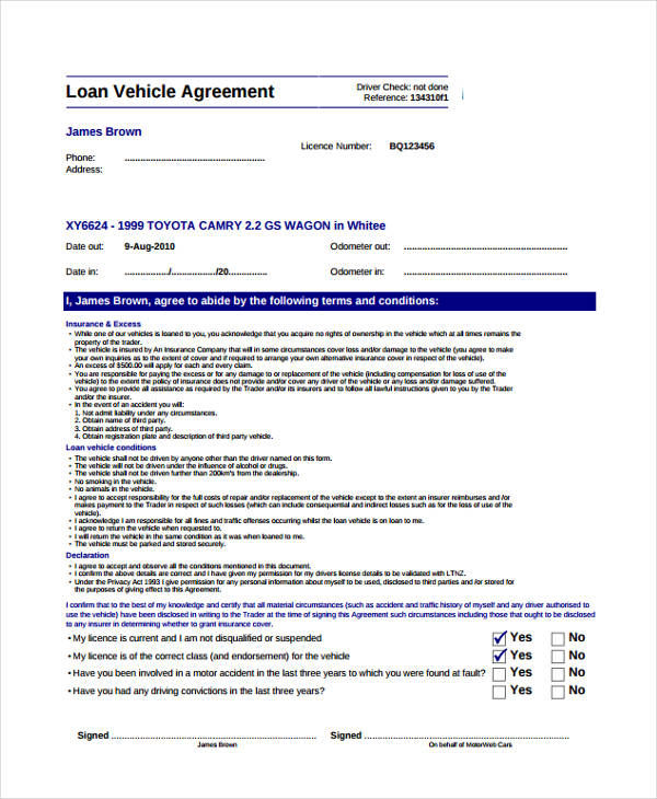 Loan agreement form example 65 free documents in word pdf for Employee vehicle use agreement template
