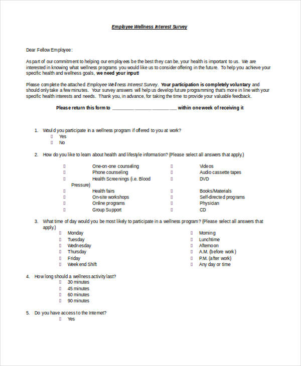 employee wellness interest survey form2