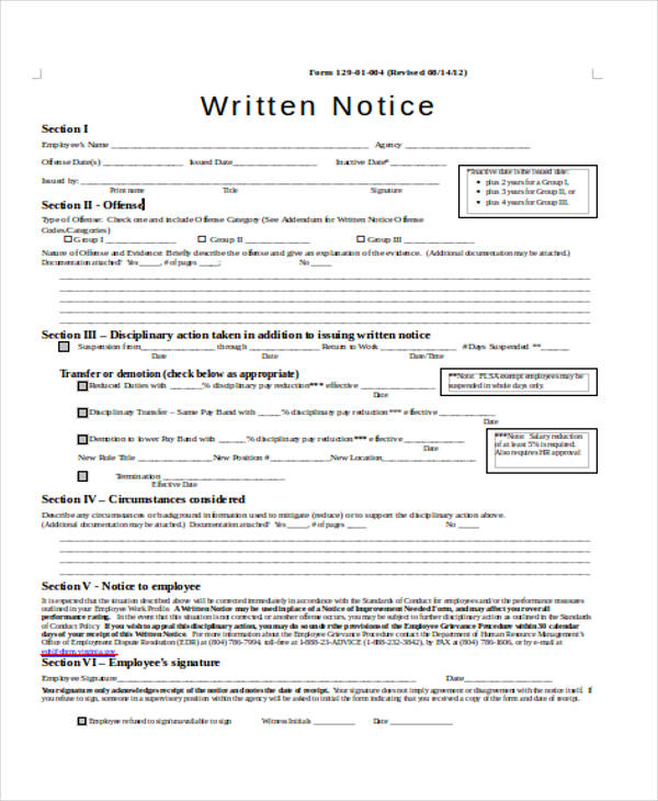 employee written notice form
