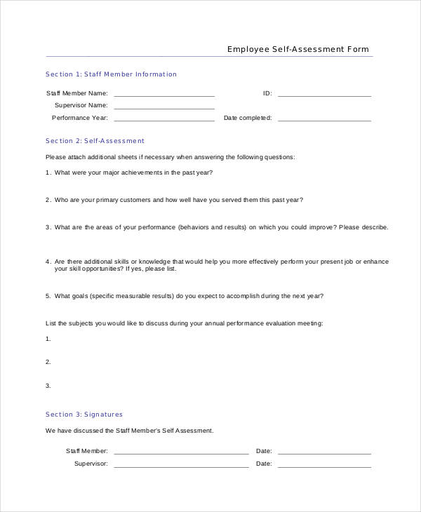 employees self evaluation form in pdf