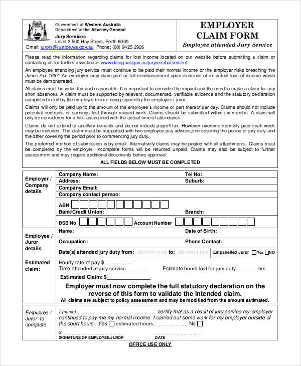 employer duty claim form