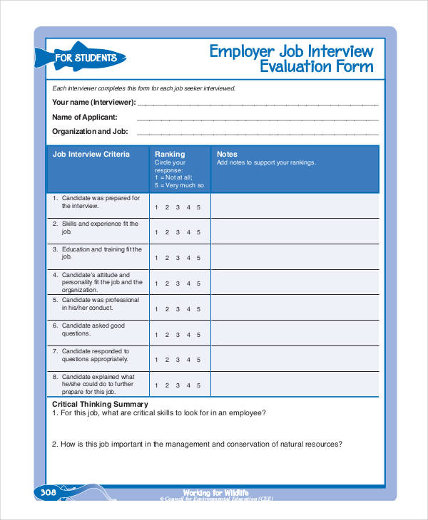 Free Interview Evaluation Form – Interview Evaluation Forms