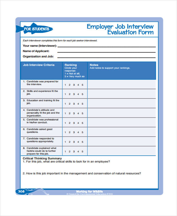 employer job interview evaluation form1