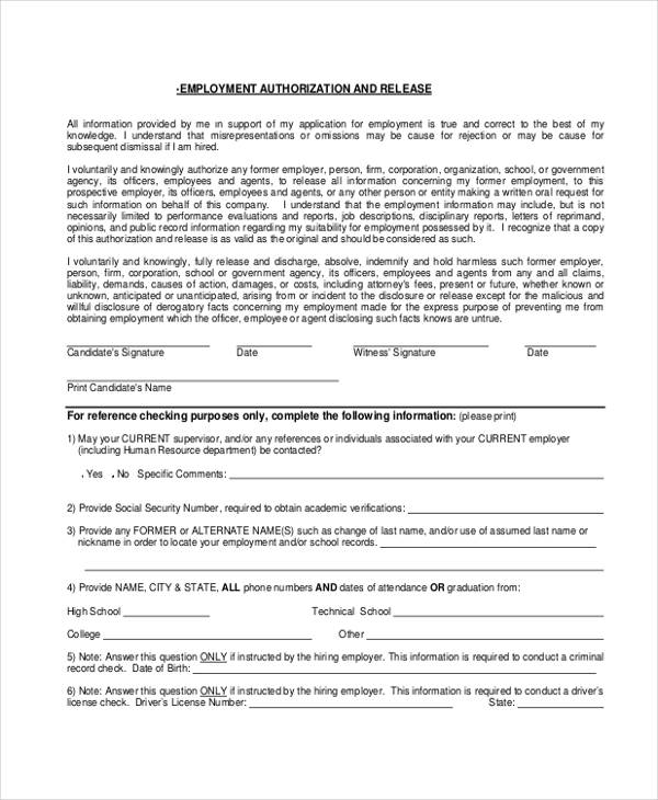 employment authorization release form1