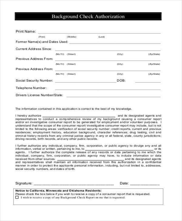 Authorization form templates for Employment reference check form template