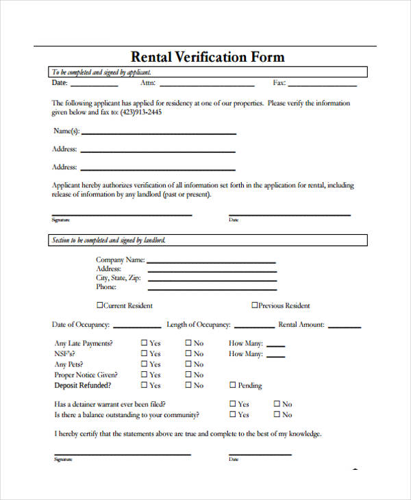 Employment Verification Form For Rental
