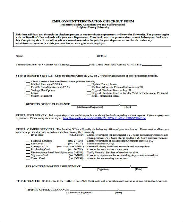 employment termination checkout form