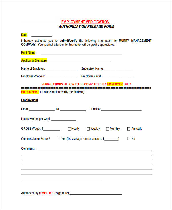 employment verification authorization form