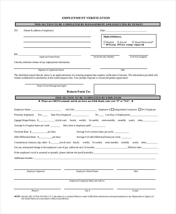 employment verification return form