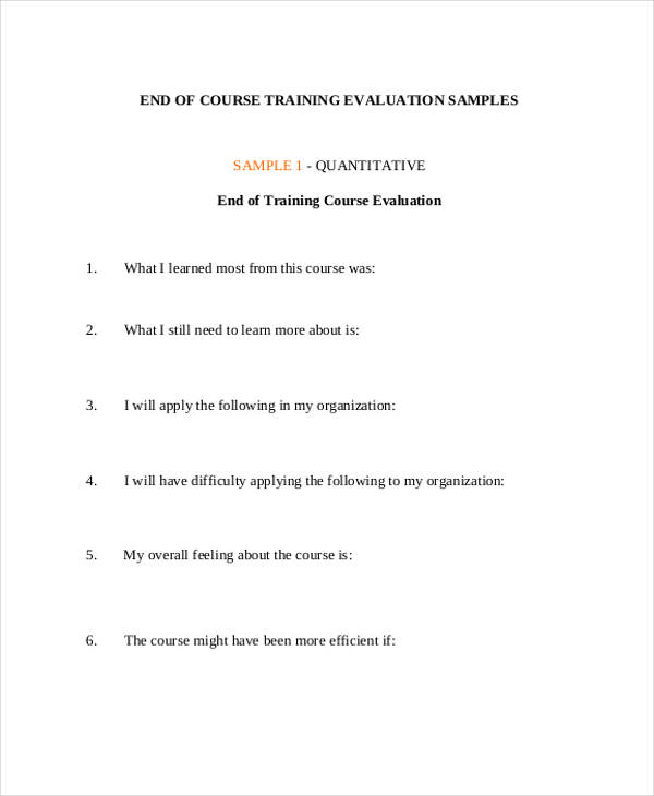 end of course training evaluation form