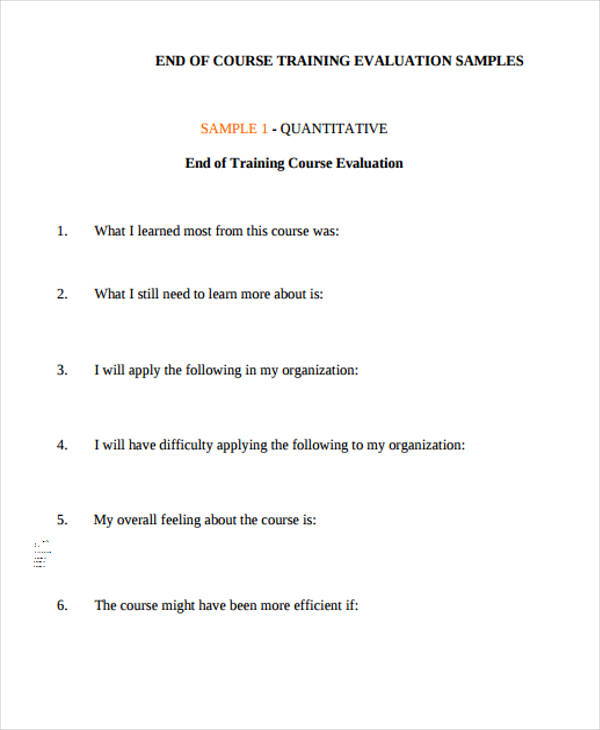 Sample training evaluation form for End of course evaluation template