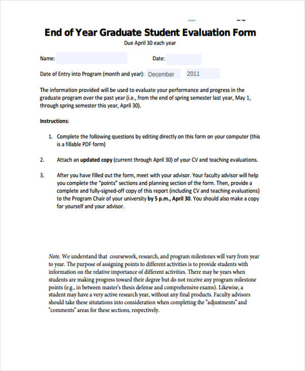 Student Evaluation Form in PDF – Student Evaluation Forms