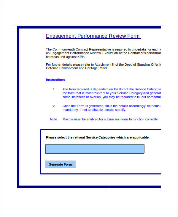 engagement performance review form