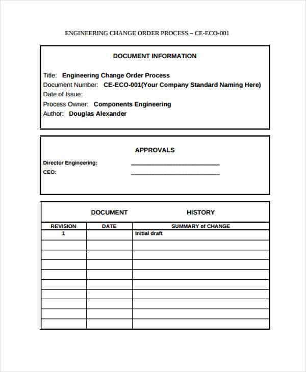 engineering change application form