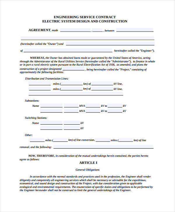 engineering service contract agreement form