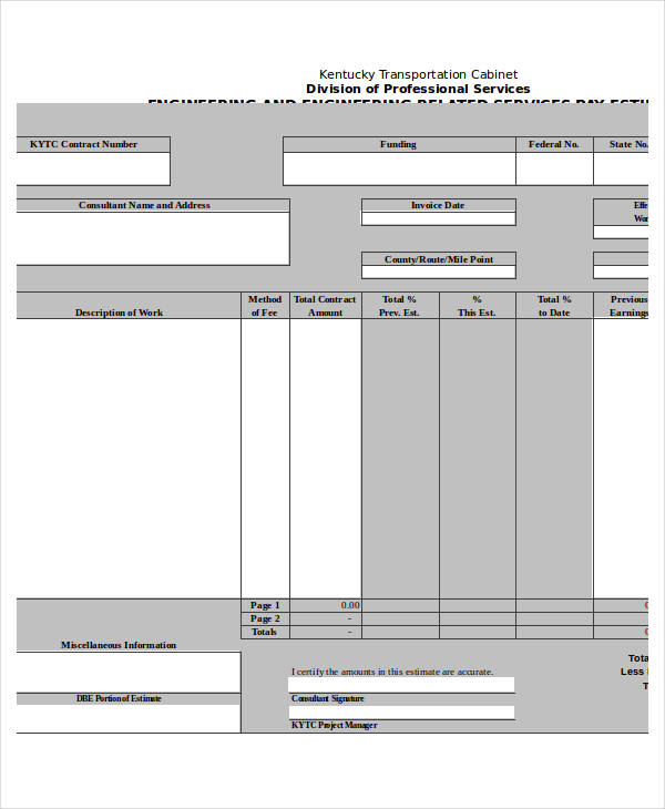 engineering service pay form