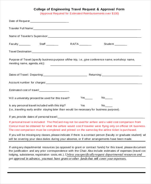 engineering travel request approval form