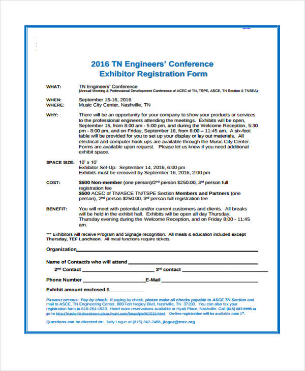 engineers conference exhibitor registration form