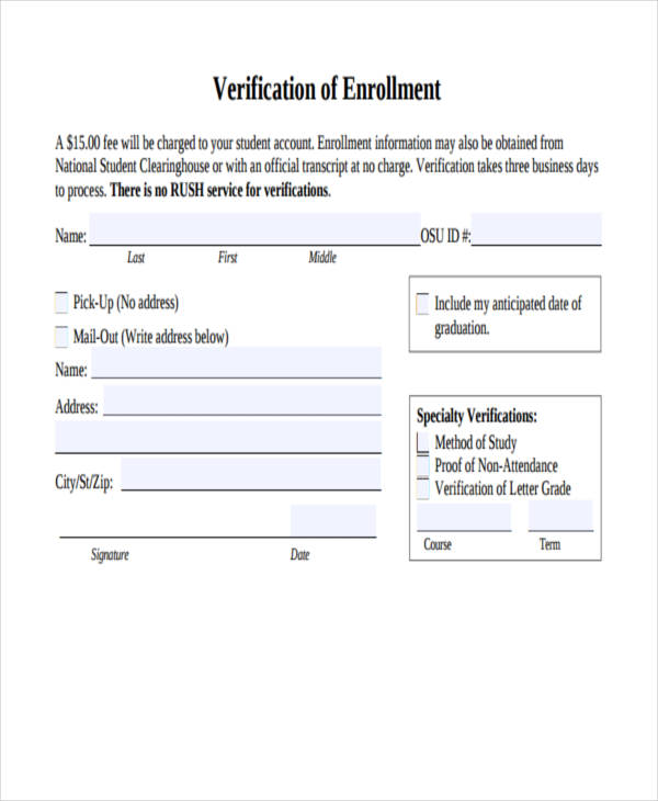 enrollment verification form sample