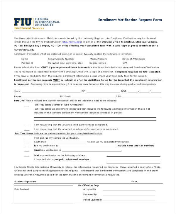 enrollment verification request form2