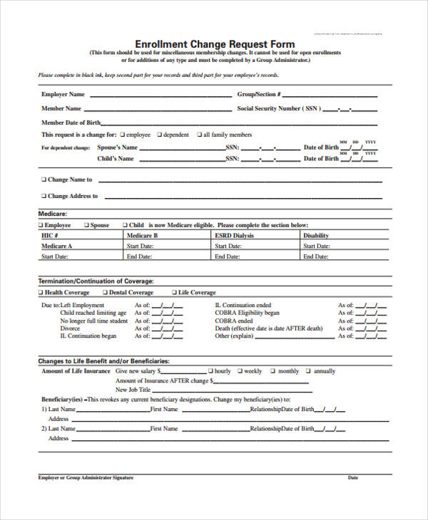 enrolment change request form