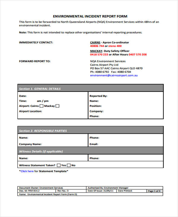 Environmental Incident Report Form Sample